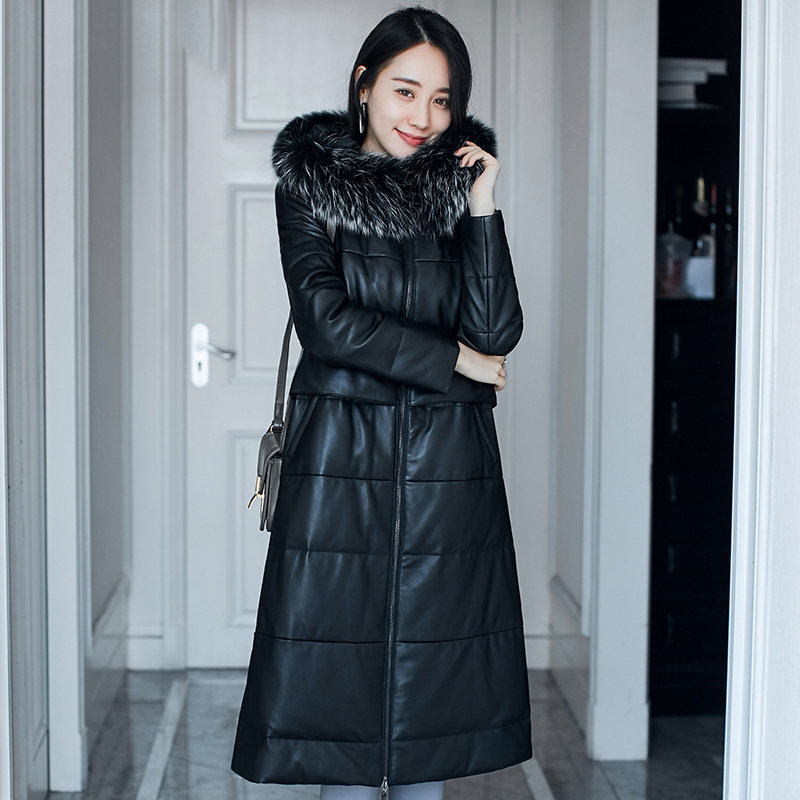 Natural sheepskin leather   down     coat   women real raccoon dog fur collar fashion real leather jacket with hood 2018 autumn winter