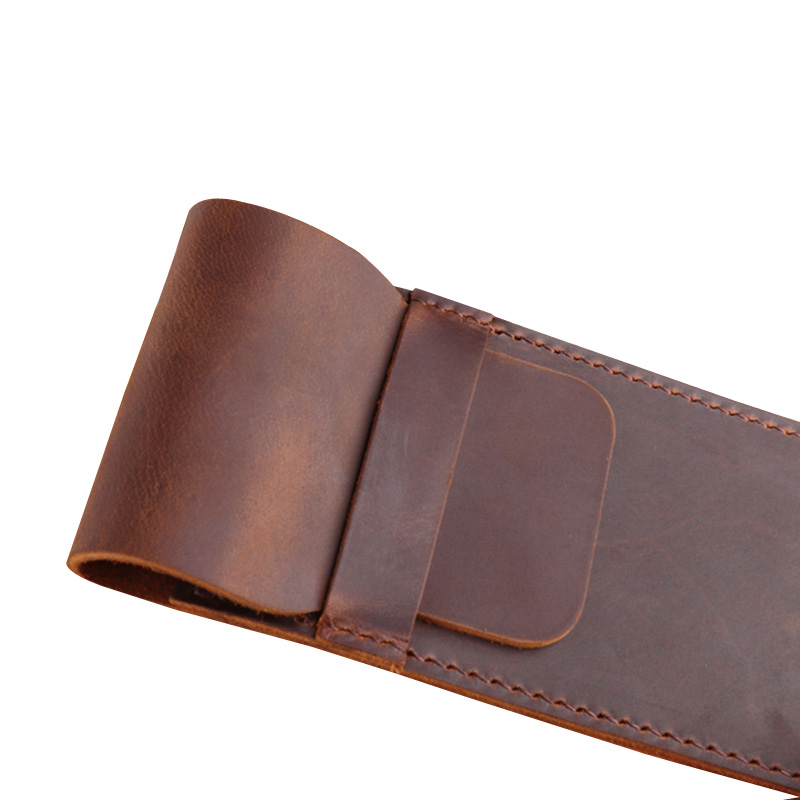 Handmade Pen Bag from Cowhide Genuine Leather Retro Pencil Bag Vintage Style Storage Bag For Journal Travel Supplies Joy Corner in Pencil Bags from Office School Supplies