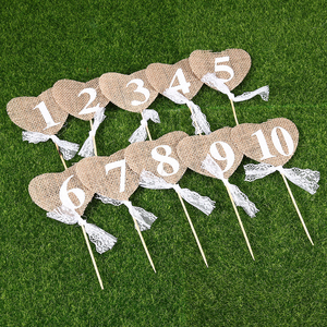 10pcs Banners Wedding Rustic Bunting Vintage Jute Burlap Hearts Flag Party Favor Table Supplies Numbers Home Decoration Props(China)