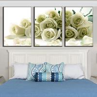 Modular Canvas Painting Print Wall Art Pictures For Living Room Home Decoration 3 Pieces White Roses