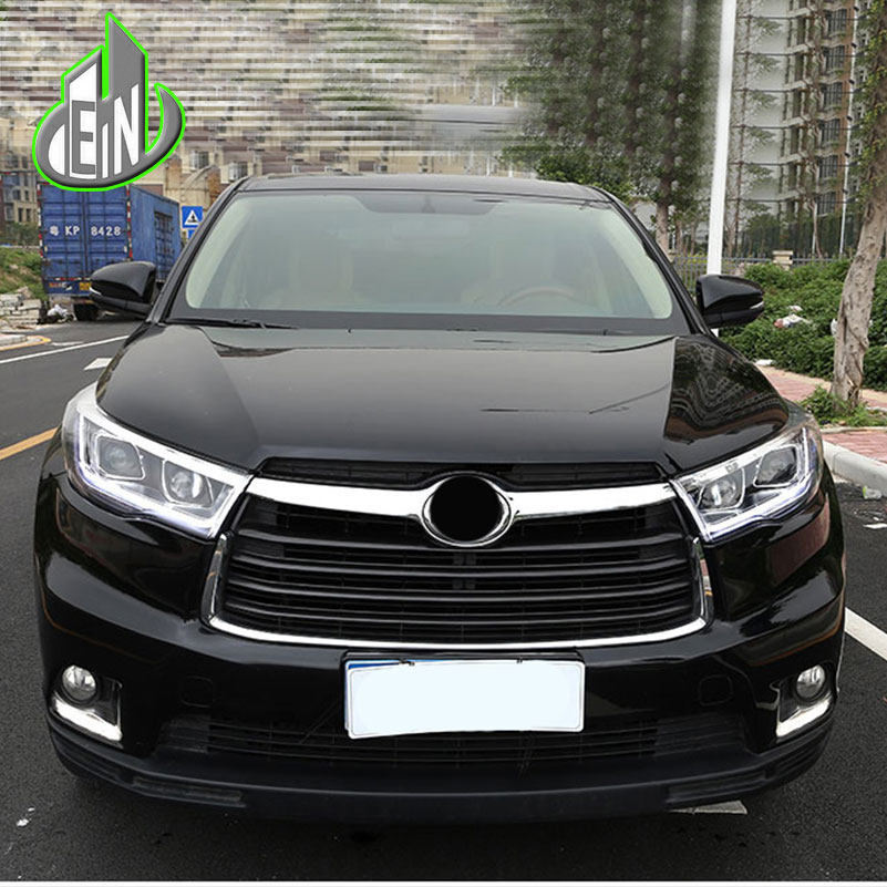 Car Styling Head Lamp For Toyota Highlander headlights 2015-2016 led DRL LED flowing turn signal H7 hid Bi-Xenon Lens low beam