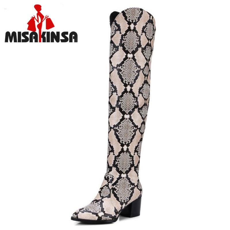 MISAKINSA Plus Size 32-48 Ladies High Heels Over Knee Long Boots Women Snakeskin Pattern Sexy Slip On Shoes Women Winter Botas