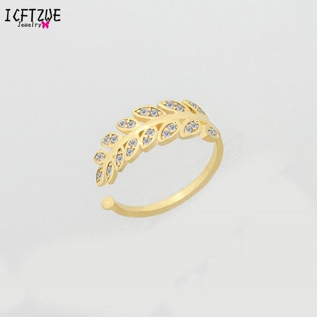 ICFTZWE Minimalistischen Anel Gold Farbe Kappe Ringe CZ Blatt Ring ...