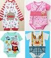 2 шт. / lot младенцы anpanman одежда ползунки лето ткань в полоску принт комикс ползунки накидка новорожденный фотография