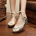 Crane Pine Women Embroidery 5cm Pumps Shoes Chinese Style Old Peking Mary Janes Inside Increased  Soft Sole Cloth Shoes Woman