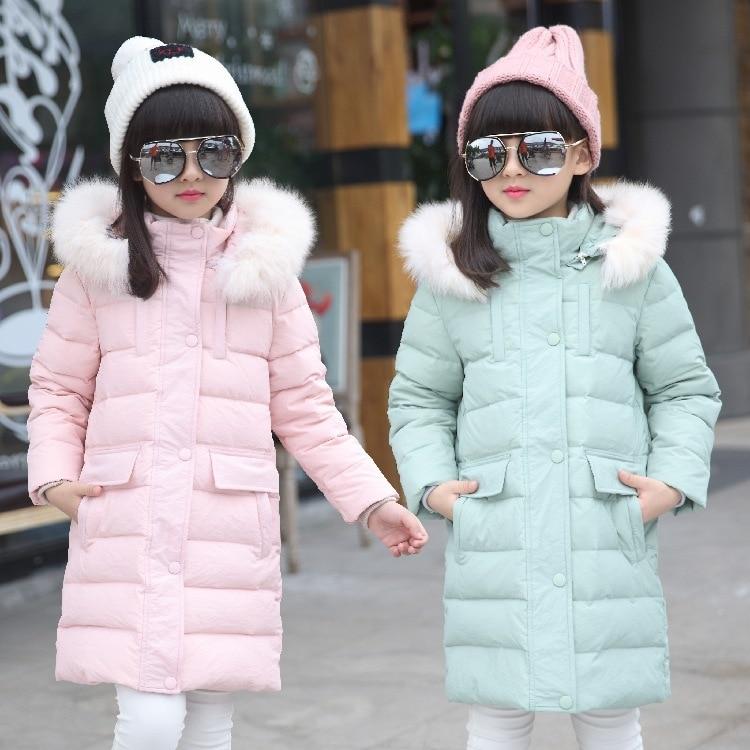 ФОТО New Fashion Children Winter Down Jacket Girls Warm Long Coat Yong Kids Thick Duck Warm Jacket Outwear V-0520