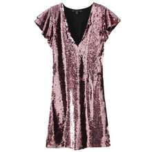 Sexy Low Cut Bodycon Sequins Dress With Butterfly Sleeve Slim Fit Deep V Wrap Club Dress Night Party Mini Dress