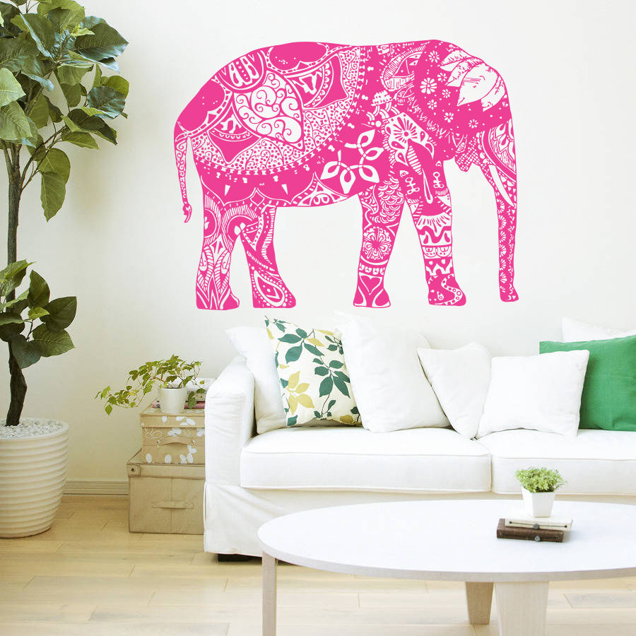Wall Decal Vinyl Sticker Indian Elephant Floral Patterns