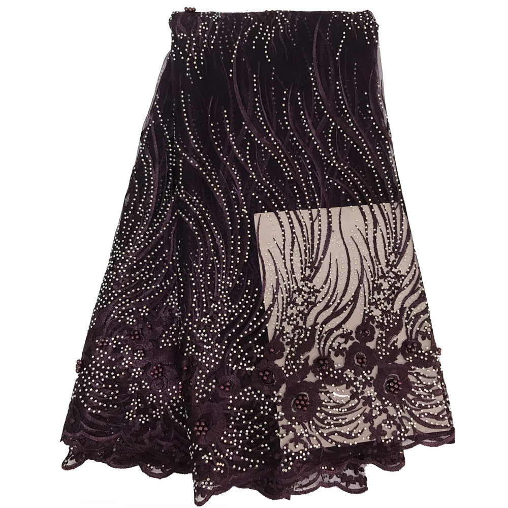 2018 Brown Color Beaded Stones Lace High Quality African Tulle Lace Fabric New Arrival Nigerian Lace Fabrics For Wedding F158-1