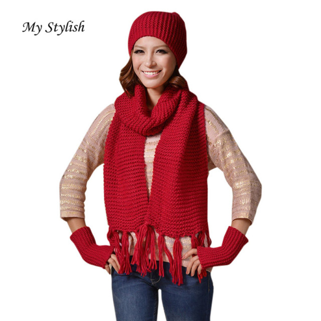 784c0c36231 My Stylish 1Set Women Crochet Hat Fur Wool Knit Beanie Warm Cap+Scarf+Gloves  Shawl Suit Nov 14