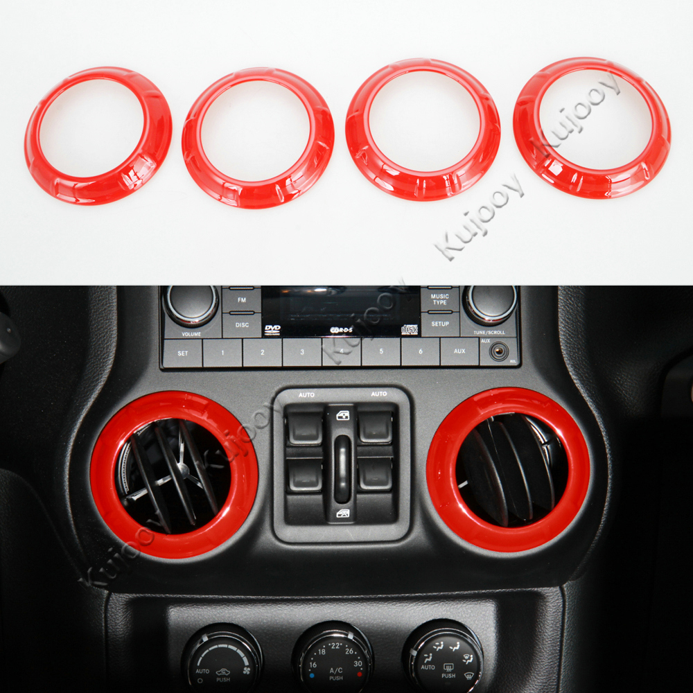4PCS//Set Yellow Inner Air Conditioning Outlet Vent Cover Trims For Jeep Wrangler