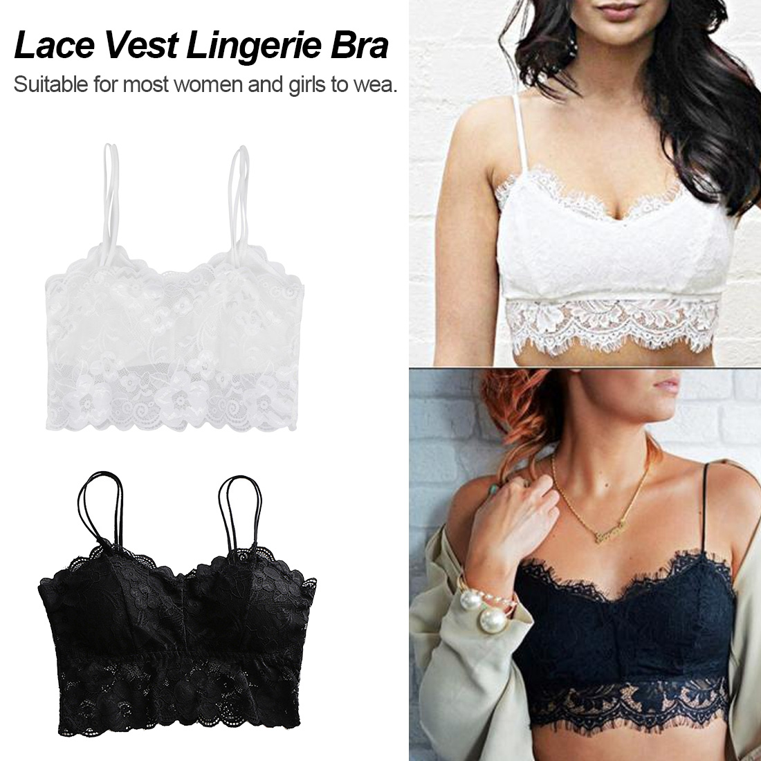 Summer 2019 fashion transparent black and white sexy lace floral bra girls  sweet