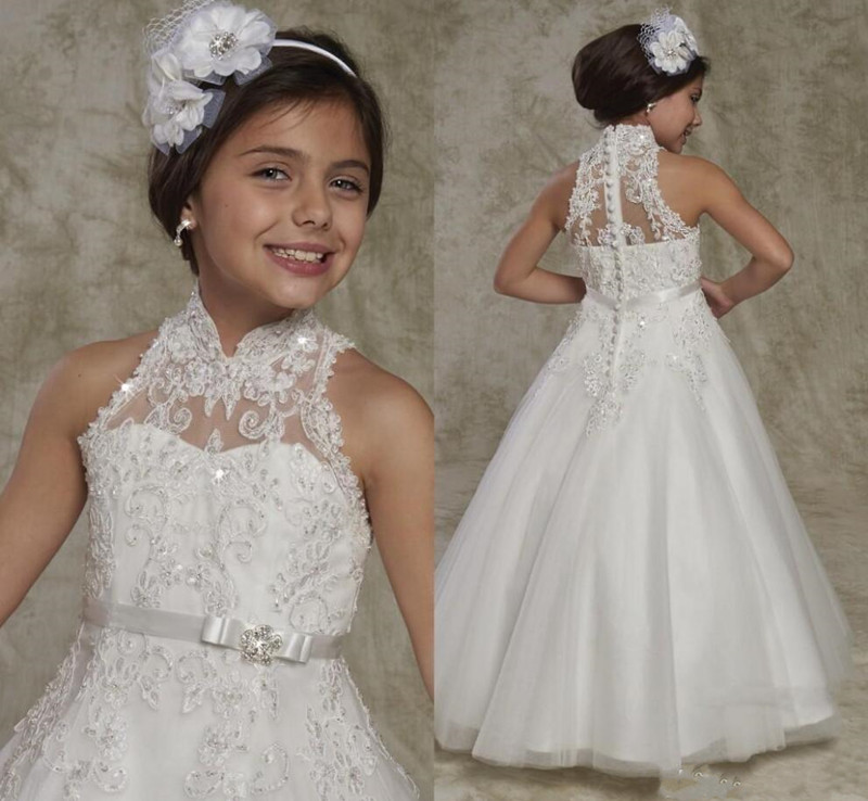 2019 New Long   Flower     Girl     Dress   with Appliques Beading Buttons First Communion Gowns Sleeveless New Arrivals Custom Made Longo