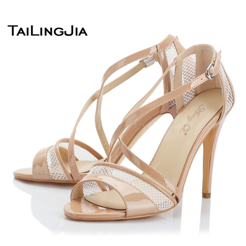 ФОТО Woman Sandals 2017 New Fashion Women Shoes Sexy Cross Strap High Heel Sandals Comfortable  Women Shoes US Size 4-15.5