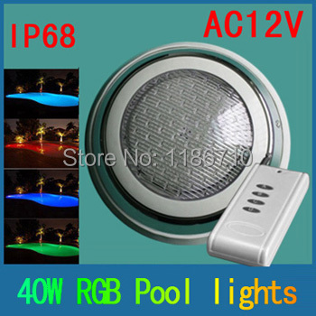 Factory direct sale 40W led rgb swimming pool 552pcs underwater led pool light,controller pc cover and stainless free shipping