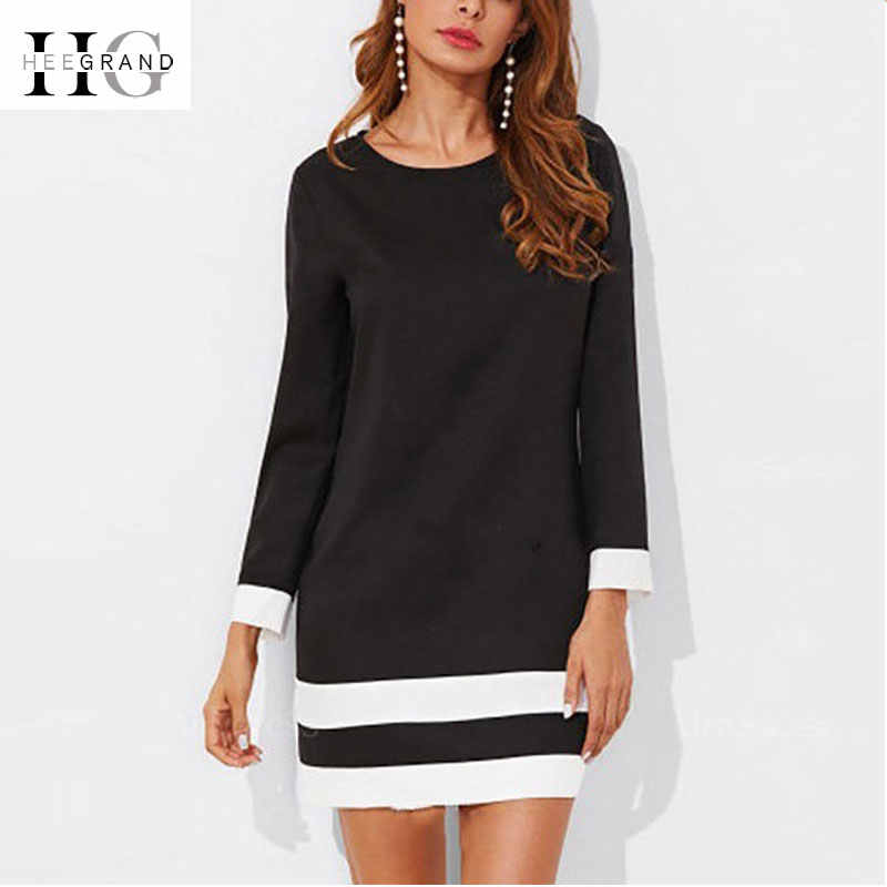 HEE GRAND Vintage Dresses Women 2018 Autumn Black White A-line Wrist Sleeve Mini Dress Bow Elegant Female Vestidos WQL5721