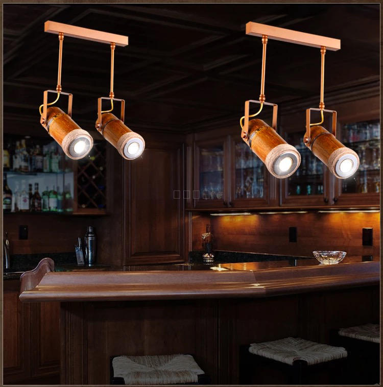 Bamboo Loft designer pendant lights retro hemp living room restaurant  Bar Cafe creative personality 1/2/3/6  pendant light ZA