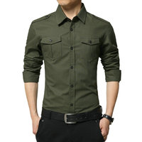 2017 Spring High Quality Cotton Male Shirt Long Sleeve Military Shirt Men Asian Size