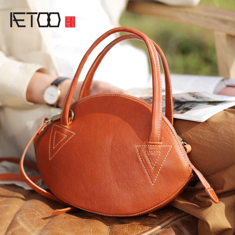 AETOO Original literary handbag retro Sen shell bag ethnic style handmade leather handbags leather shoulder bag все цены