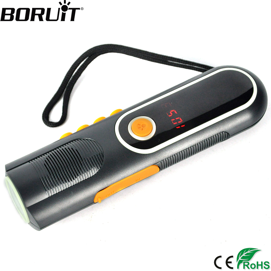 BORUiT Multifunction Hand Power USB Rechargeable Flashlight AM/FM Radio Flash light Power bank Torch Camping Hunting Lantern 3800 lumens cree xm l t6 5 modes led tactical flashlight torch waterproof lamp torch hunting flash light lantern for camping z93