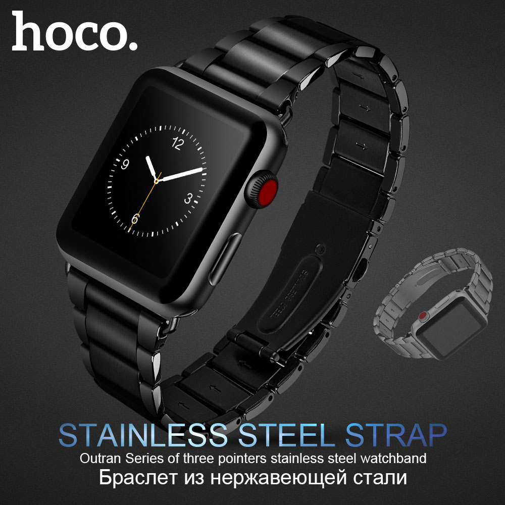 Original HOCO Silver Black 316L Stainless Steel Strap For Apple Watch Series 1 2 3 Band 42mm 38mm Wristband Replacement Bracelet ysdx 398 fashion stainless steel self stirring mug black silver 2 x aaa