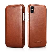 Icarer caso de couro genuíno para o iphone xs max xr luxo flip capa para iphone xs max xr x xs casos de telefone de couro original coque