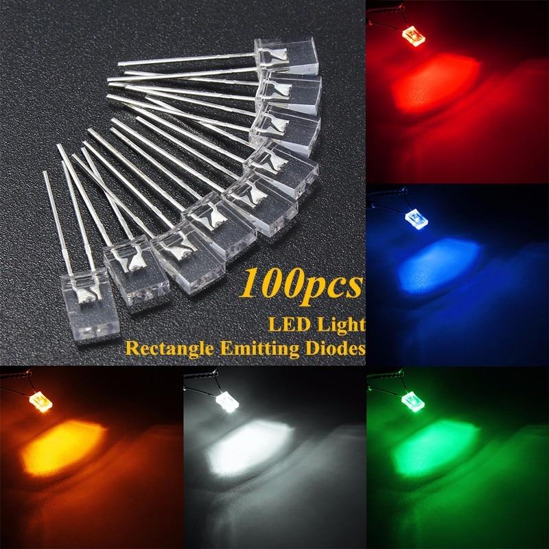 100pcs Rectangular Square LED Emitting Diodes Light LEDs Bulbs Water ClearP iv