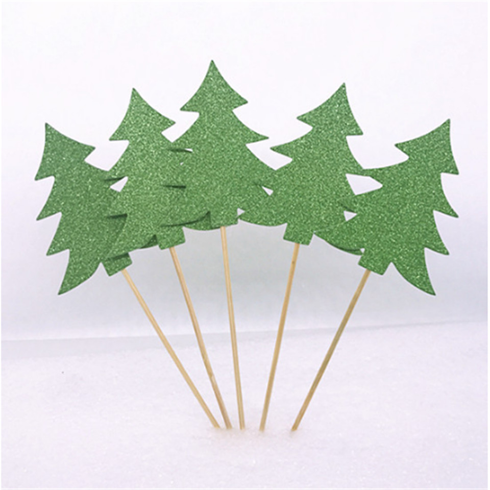 HEY FUNNY 5pcs Cupcake Topper Decorative Christmas Trees Cupcake green/white Picks Star for Party Decoration