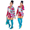 2016 Fashion Suit Casual Ladies Suits 2 Piece Set Women Blazers Women Shorts And Top Printed Long Sleeve Jacket Shorts Plus Size
