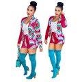 2016 Moda Terno Ocasional Das Senhoras Ternos 2 Peça Set Mulheres Blazers mulheres Shorts E Top Impresso Jaqueta de Manga Longa Shorts Plus Size