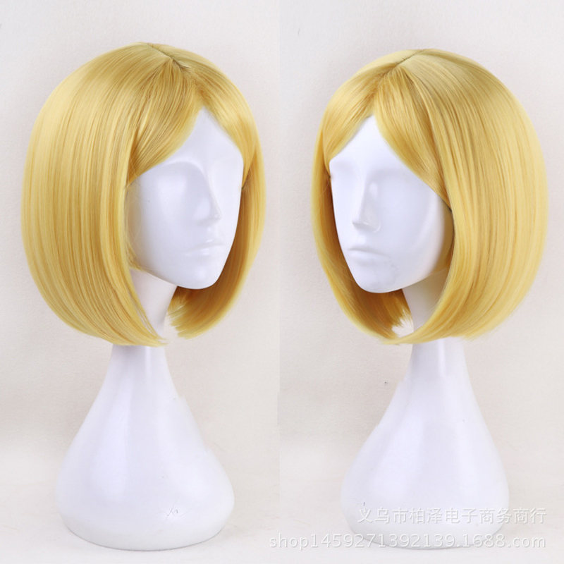 35cm Short BOB Synthetic Hair Land of the Lustrous Yellow Diamond Cosplay Wig Heat Resistance Fiber+wig cap