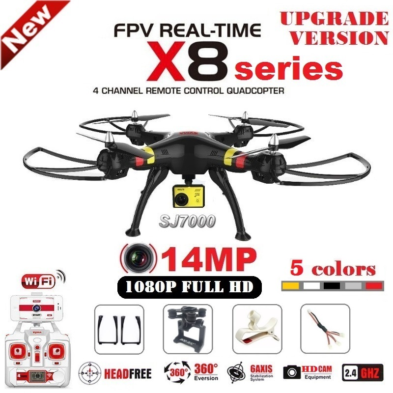 SYMA X8G X8C X8W X8HG RC Drone With SJ7000 14MP 1080p Full HD WiFi Camera 2.4G 4CH FPV Quadcopter Professional Drone syma x8c 2 4g 4ch 6 axis rc quadcopter drone helicopter 2 mp hd camera with gift can hold gopro camera same as x8w x8g