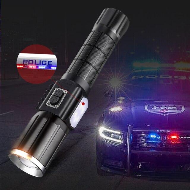 Una linterna fuerte cree xml T6 led linterna 18650 usb recargable Zoom linterna táctica rojo y azul luz de Flash