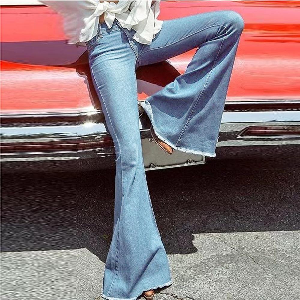 4279f69d57de New Arrival Women Autumn Wide Leg Distressed Flared Jeans Women vintage  Slim Denim Clothing Vintage Bell Bottom Jean DZ501