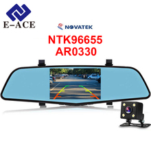 E-ACE Видеорегистраторы для автомобилей Новатэк 96655 Full HD 1080 P 4.5 дюймов IPS Регистраторы тире Камера Двойной объектив с зеркало заднего вида авто Регистратор