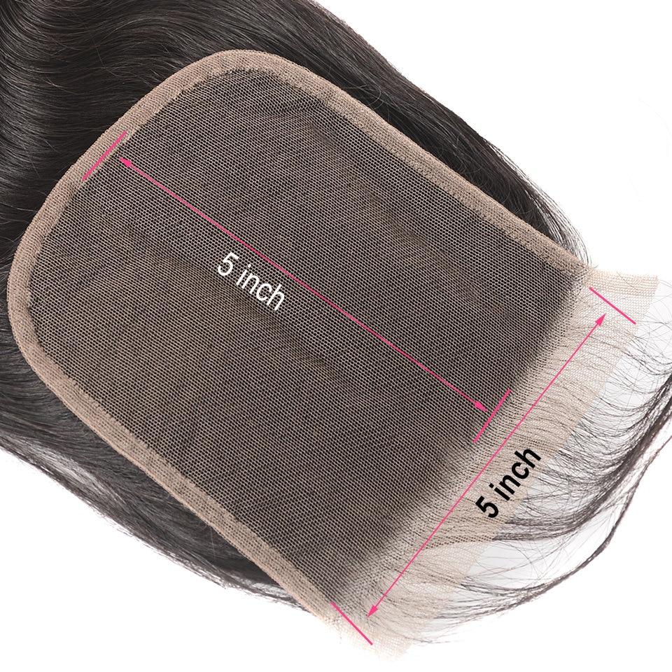 HTB1VcyVKaSWBuNjSsrbq6y0mVXaf AliPearl Hair Straight Human Hair 3 Bundles With 5x5 Closure Brazilian Hair Weave Bundles Natural Color Remy Hair Extension