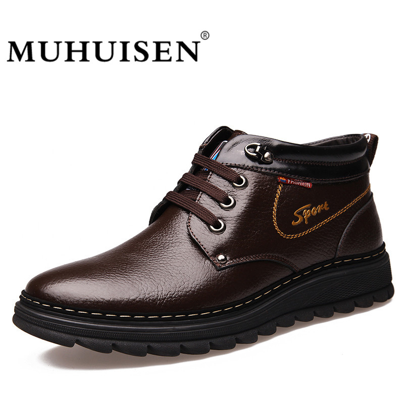 MUHUISEN Luxury Brand Fashion Men's Winter Snow Boots Ankle Thick Plush Warm Lace-Up Genuine Leather Causal Shoes Man muhuisen brand winter men genuine leather shoes fashion warm working plush ankle boots casual lace up flats male snow boots