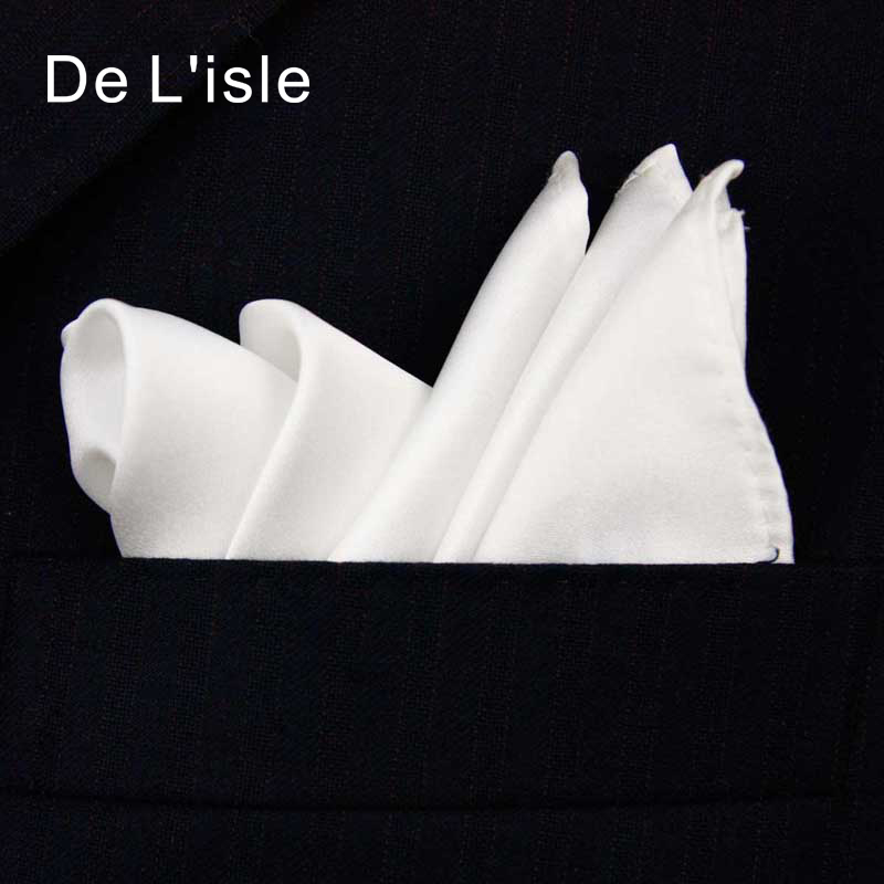 Pañuelo de bolsillo blanco clásico hecho a mano de seda natural 100% Pañuelo de bolsillo con caja de regalo