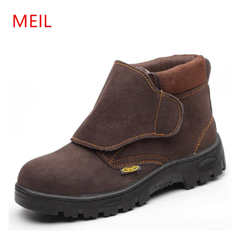 MEIL Welding shoes New 2018 Men Boots Work Safety Shoes Steel Toe Cap Anti-Smashing Puncture Proof Durable Breathable Protectiv air mesh men boots work safety shoes steel toe cap for anti smashing puncture proof durable breathable protective footwear