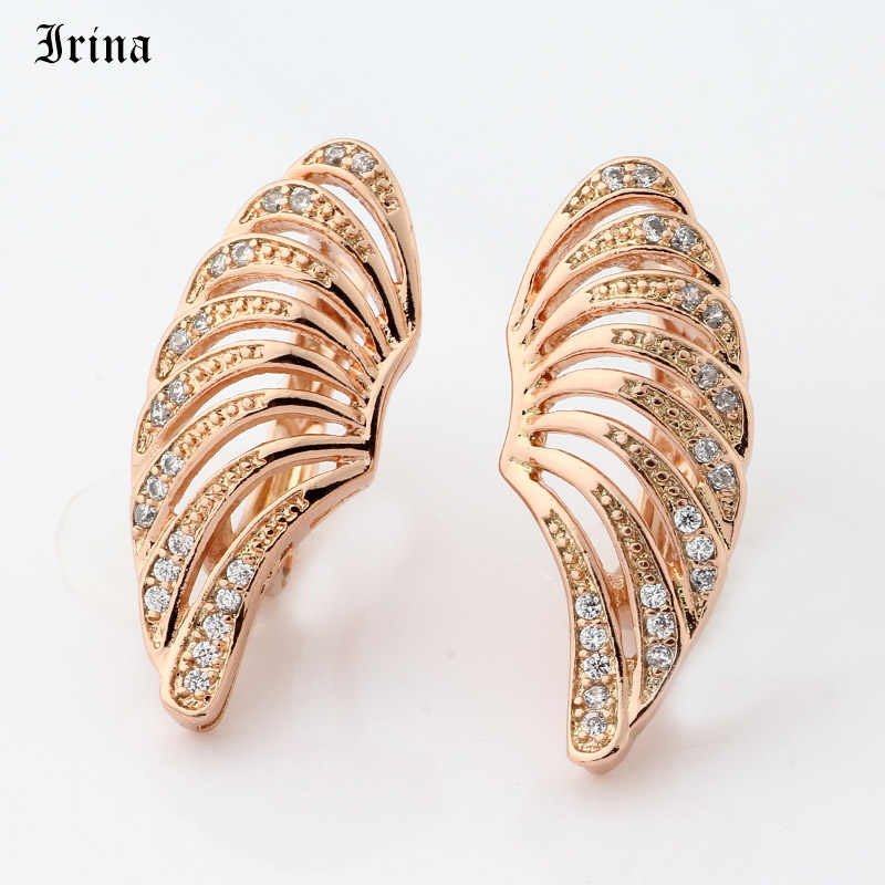 Irina Brand Wing shape Vintage Cubic zirconia 585 Copper Rose Gold Color Fashion Drop Earrings for Women