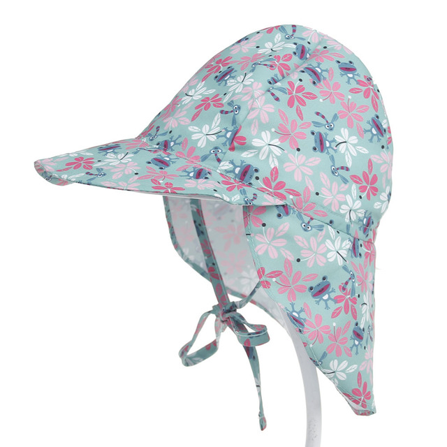 Baby Boy Girl Sun Hat Outdoor Sun Beach Hats Kids Children Neck Ear Cover  Anti UV Protection Swimming Cap d1e58e22b27