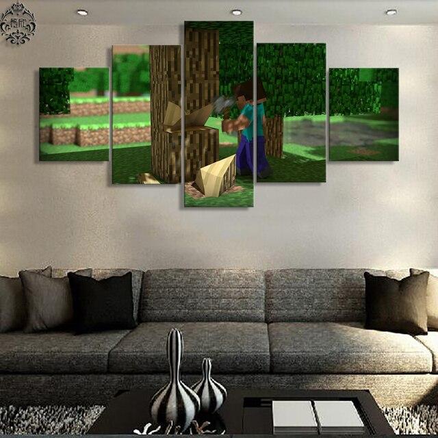 5 unidades pintura Minecraft juego fotos Decoración para el hogar ...