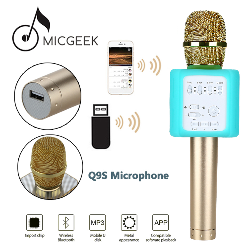 Free shipping!MicGeek Q9S Upgraded Wireless Microphone KTV Karaoke For IOS Android Smartphone leory micgeek mi520 multifunctional karaoke sing microphone change dsp mobile national broadcast singing mobile phone card