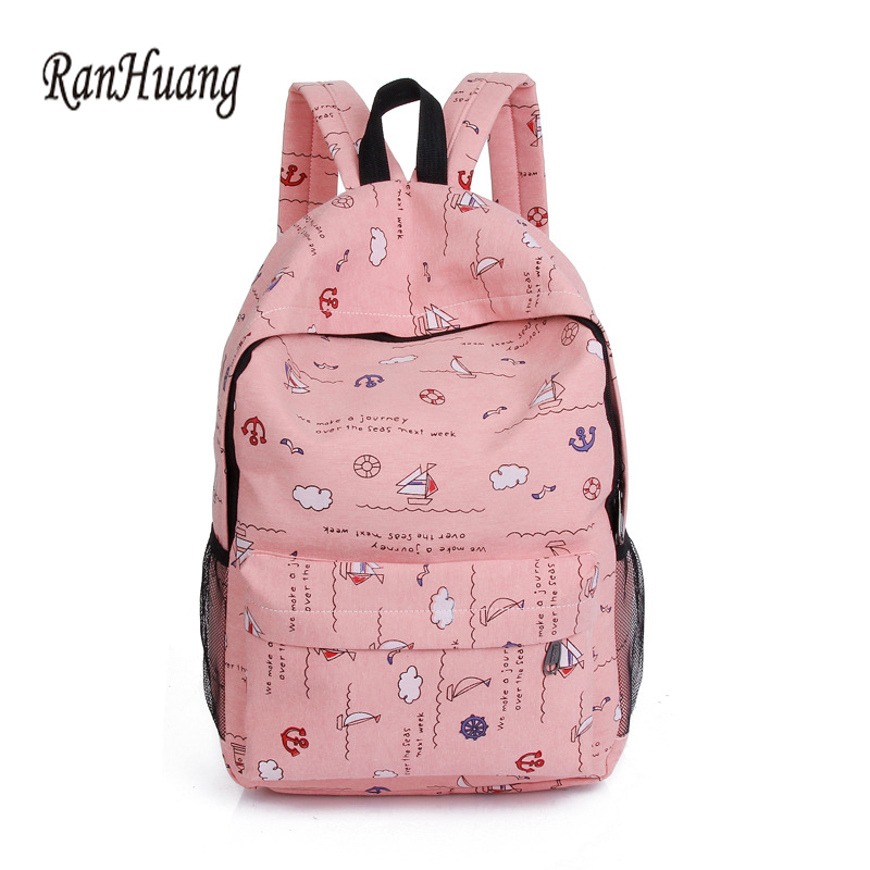 RanHuang Women Canvas Backpack Preppy Style Women's Printing Backpack 2017 School Bags For Teenage Girls Casual Rucksacks A973 ranhuang women casual canvas backpack new 2017 women s fashion backpack school bags for teenage girls mochila feminina a695