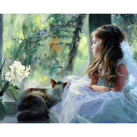 Frameless Figure Painting Girls DIY Painting By Numbers Modern Wall Art Canvas Painting Acrylic Paint For