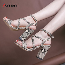Snake Print Women sandals high heel summer shoes peep toe Sexy Ankle Strap Square Heel Ladies Sandals big size 34-43 ladies transparent square high heel sandals sexy peep toe mesh ankle boots summer high heels sandals women size 34 40