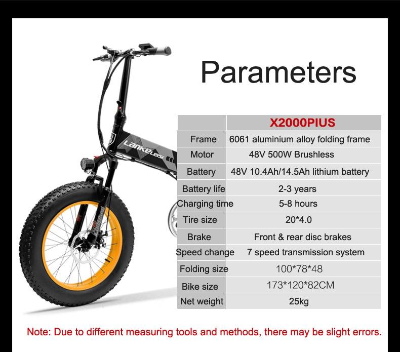 HTB1VczhPgHqK1RjSZFEq6AGMXXaa 20 Inch Folding Mountain Bike 500W 48V 14.5Ah Lithium Battery Fat Bike Electric Bike 5 Level Pedal Assist Suspension Fork