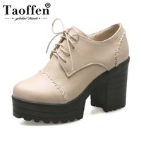 TAOFFEN Vintage Lace up Platform Pumps Thick Heel Shoes Oxfords Shoes Women Spring Women Shoes Women Heeled Shoes Size 33 43