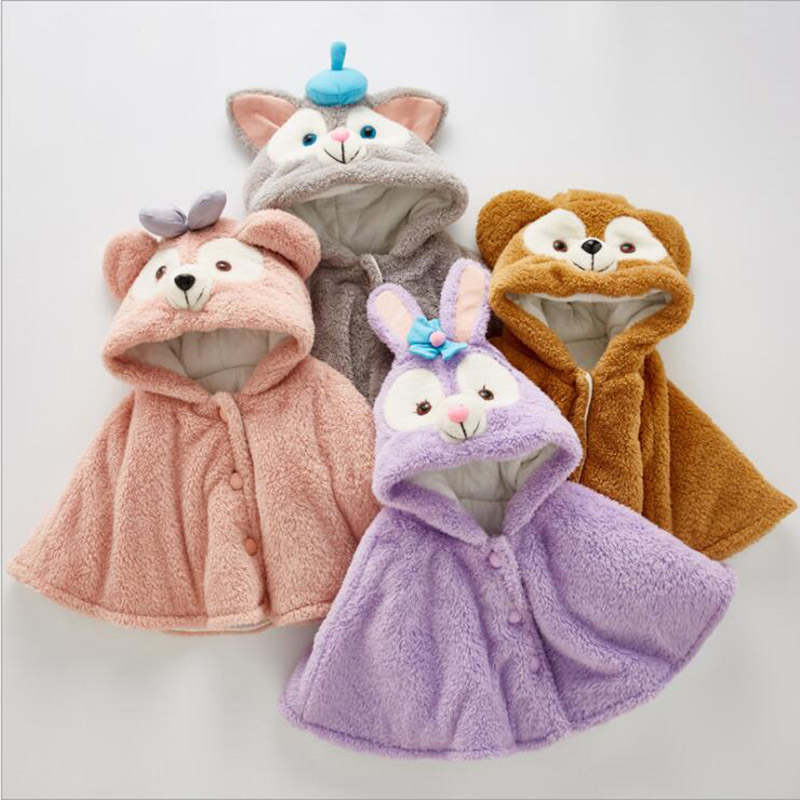 winter wind proof cloak for baby girls boys cotton warm jackets kids coats children clothes duffy bear coats (5)