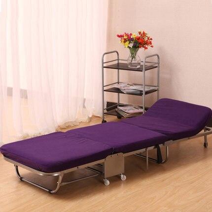 Ланч-брейк, складная односпальная кровать для офиса, трехслойная губчатая складная кровать для отдыха, Простая кровать для ухода - Цвет: purple